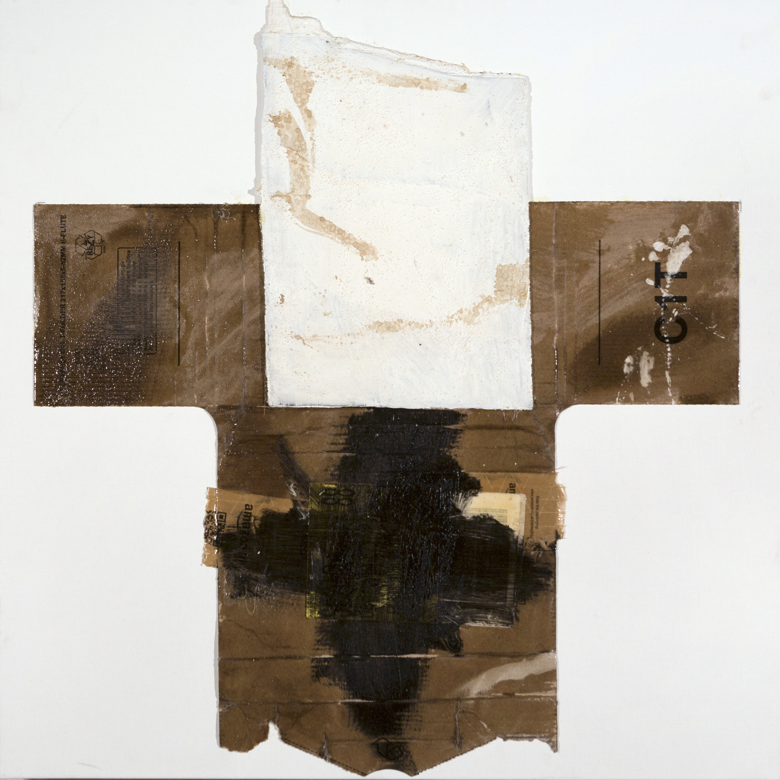 AP Ec 2_9-10, 2015, tecnica mista, cartone e legno su tela, cm 60 x 60