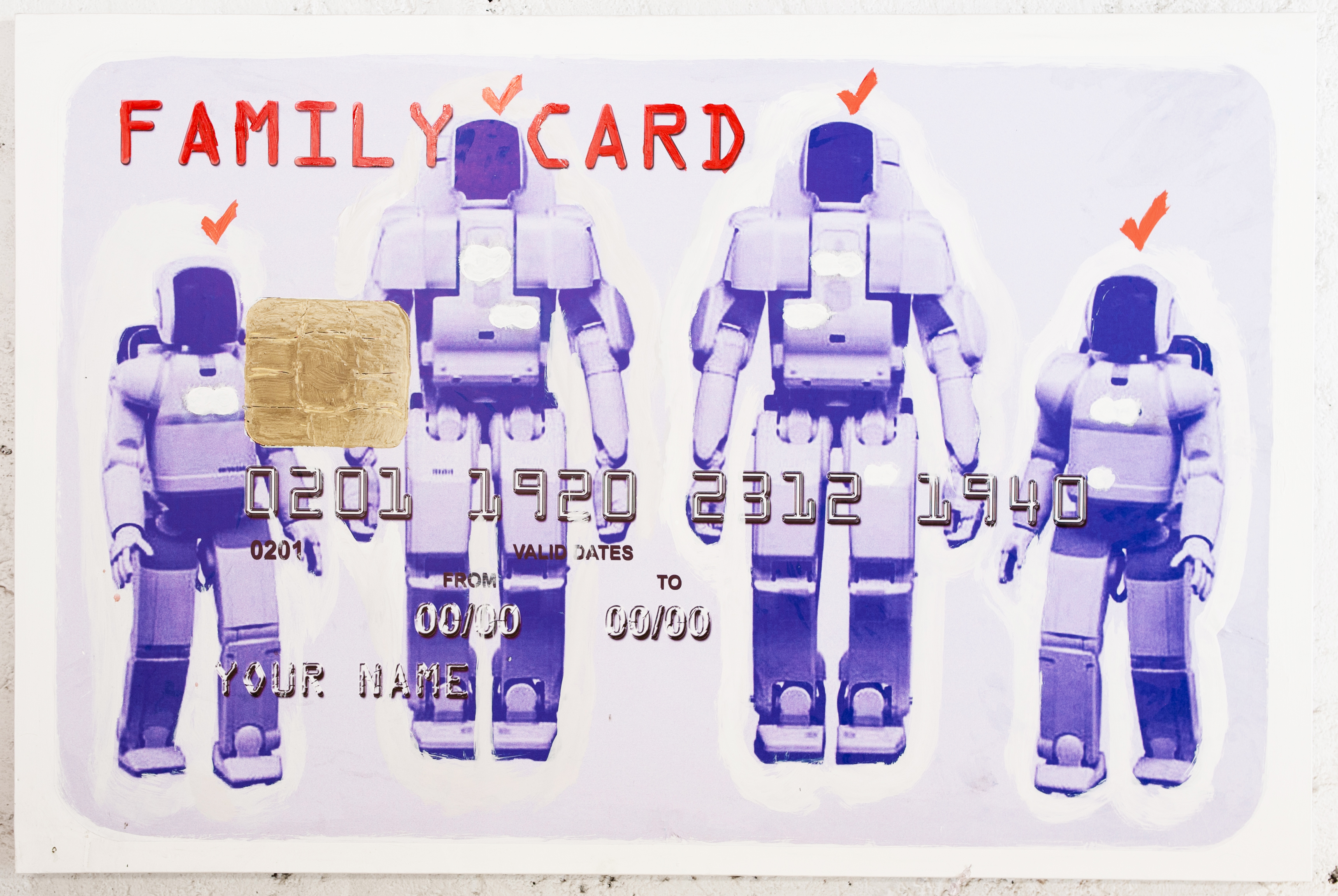 FAMILY CARD - ROBOTS, 2010-2012, Mixed media on canvas, cm 70x150