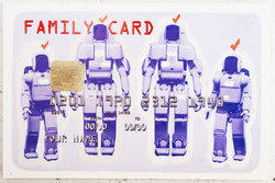 FAMILY CARD - ROBOTS, 2010-2012, Mixed media on canvas, cm 70x150