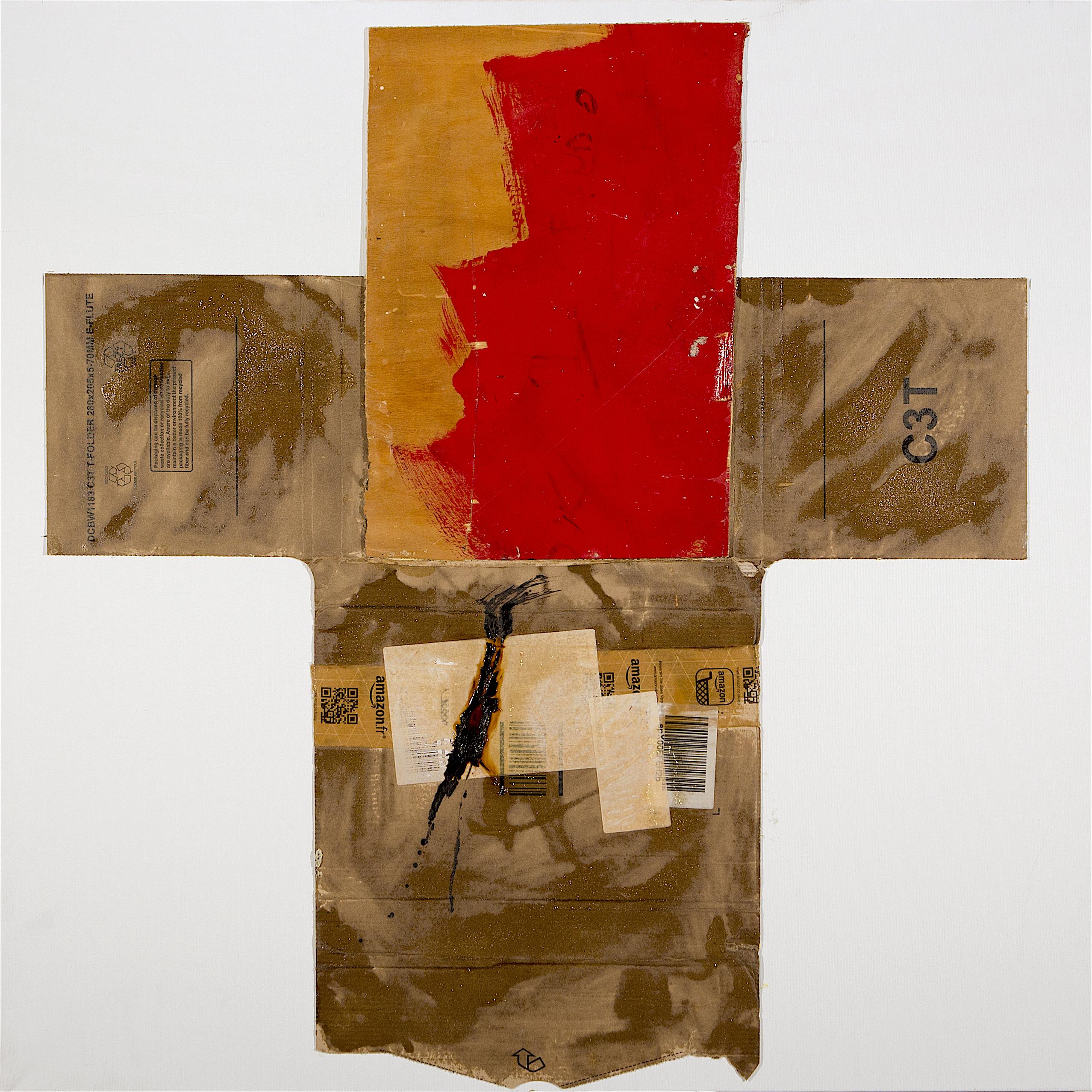 AP Ec 1_2, 2015, tecnica mista, cartone e legno su tela, cm 80 x 80