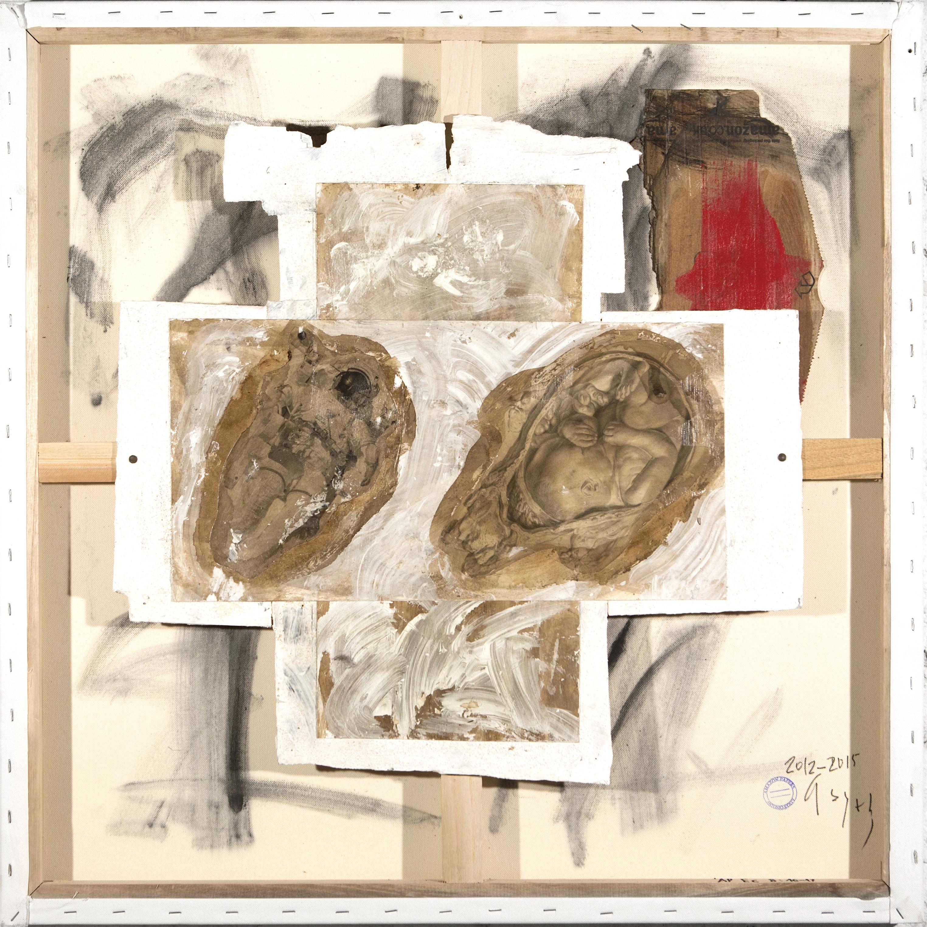 AP Ec 8_16-17, 2012-2015, tecnica mista, carta su tavola, cartone su tela rovesciata, cm 80 x 80