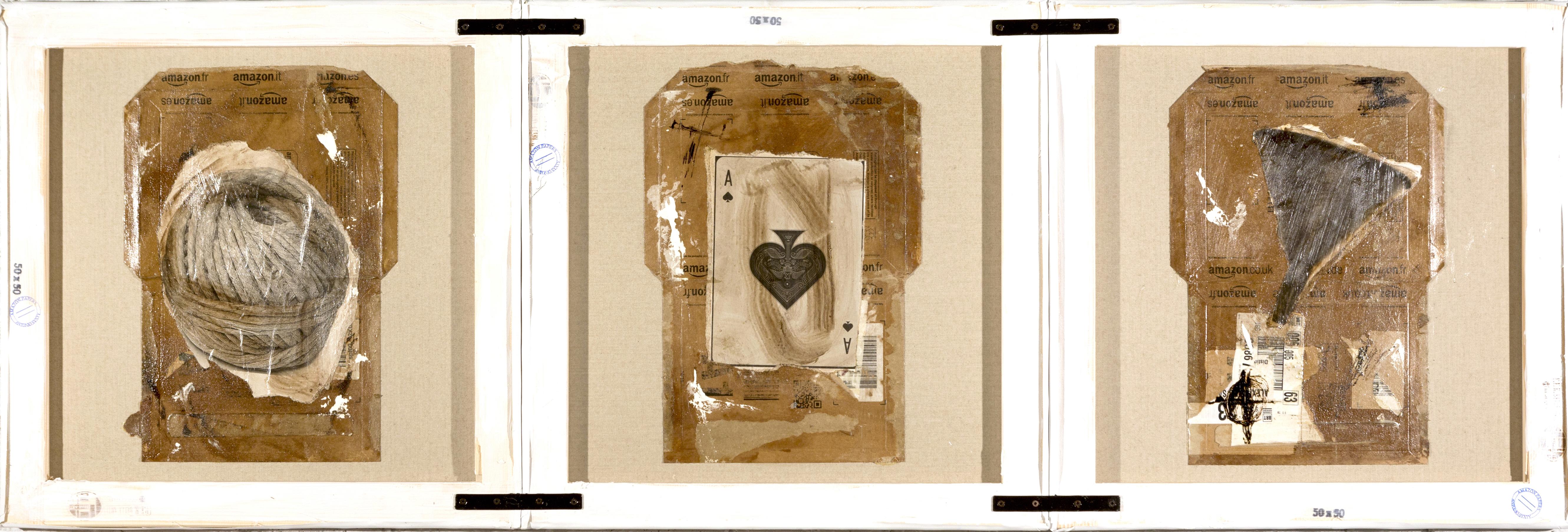 AP Ec 2_17-19, 2015, tecnica mista, cartone su 3 tele rovesciate e assemblate, cm 50 x 150