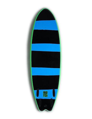 Vision 6'0 Quad Fish Intermediate Foamie Surfboard Lime / Cyan Stripes
