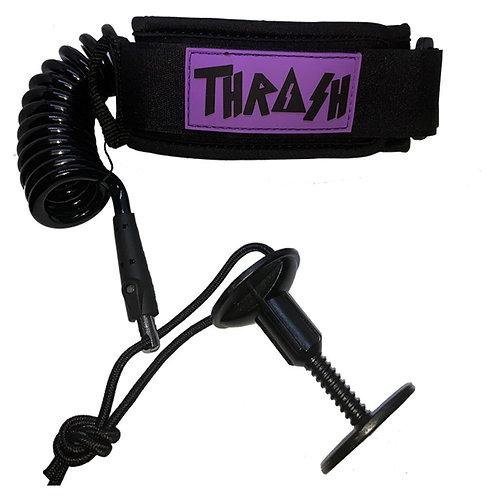 Thrash Bicep Leash Black with Purple Logo