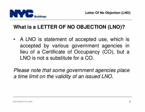 Lno Letter Of Objection