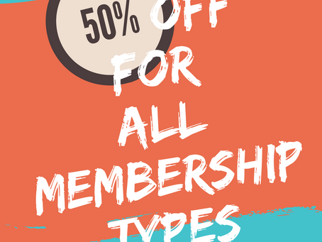50%OFF for ALL Membership Types
