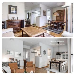 Ennen ja jälkeen kuvat olohuoneen muutoksesta