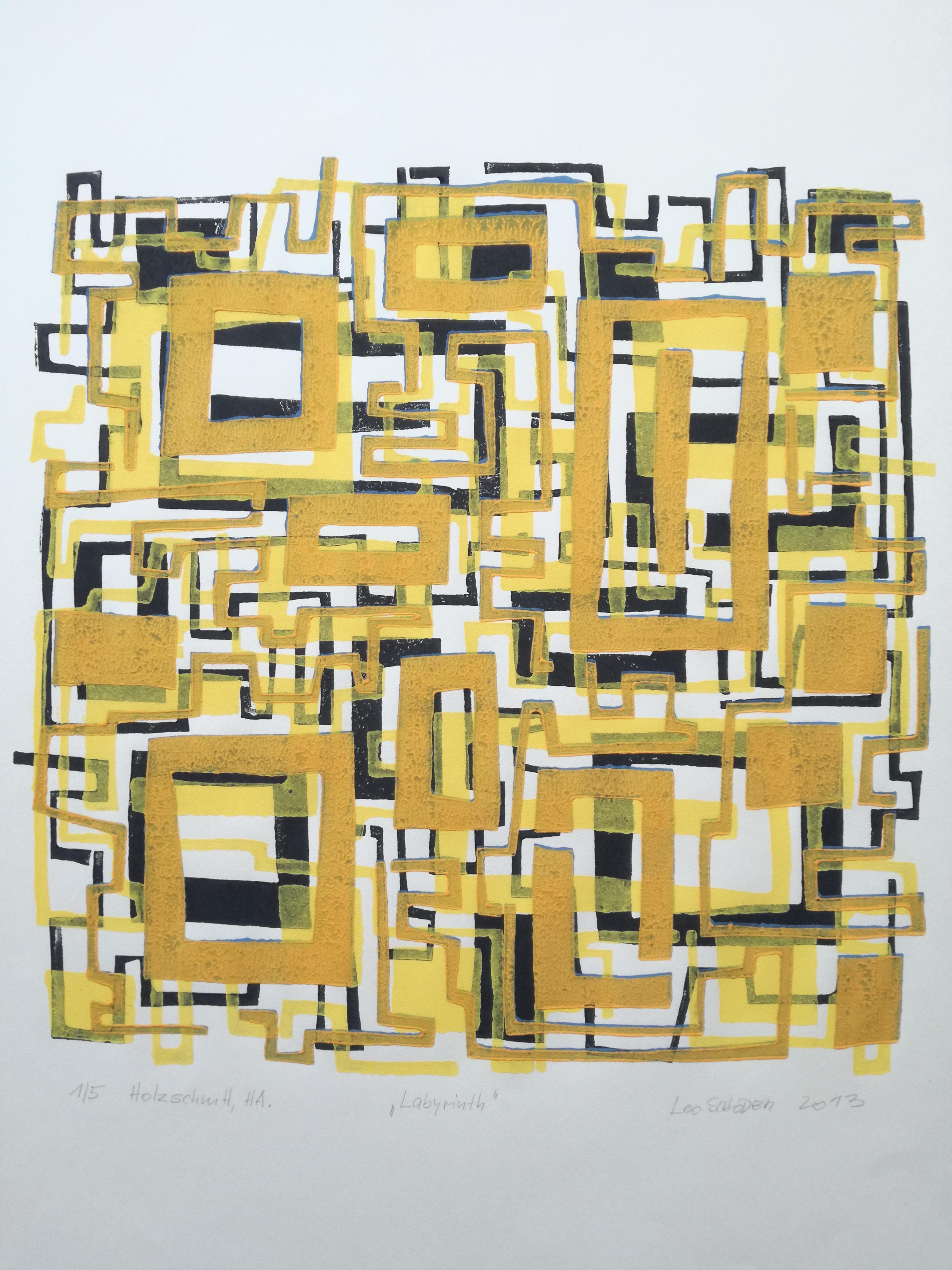 Leo Schoder Labyrinth I Holzschnitt