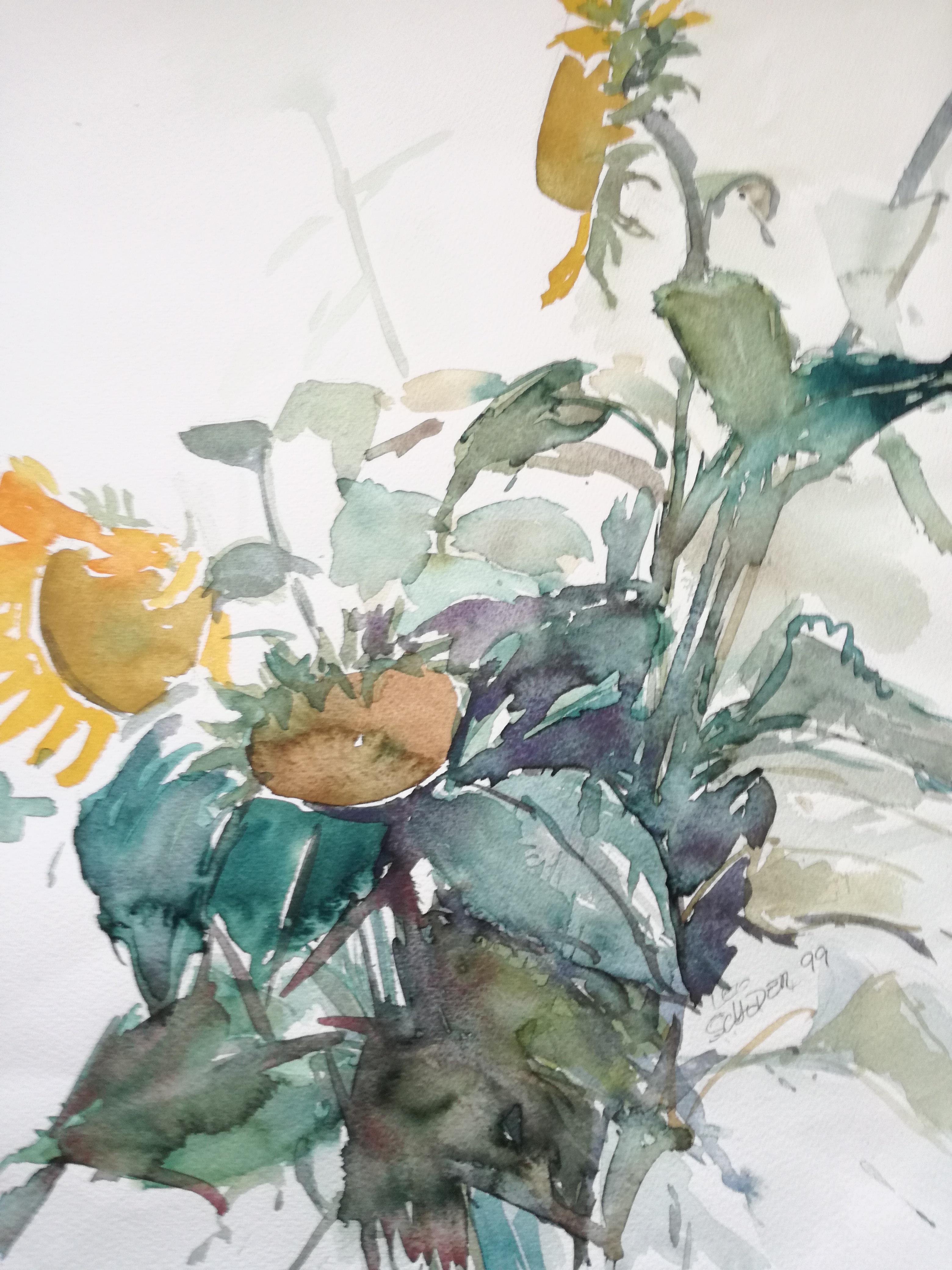 Leo Schoder Sonnenblumen Aquarell