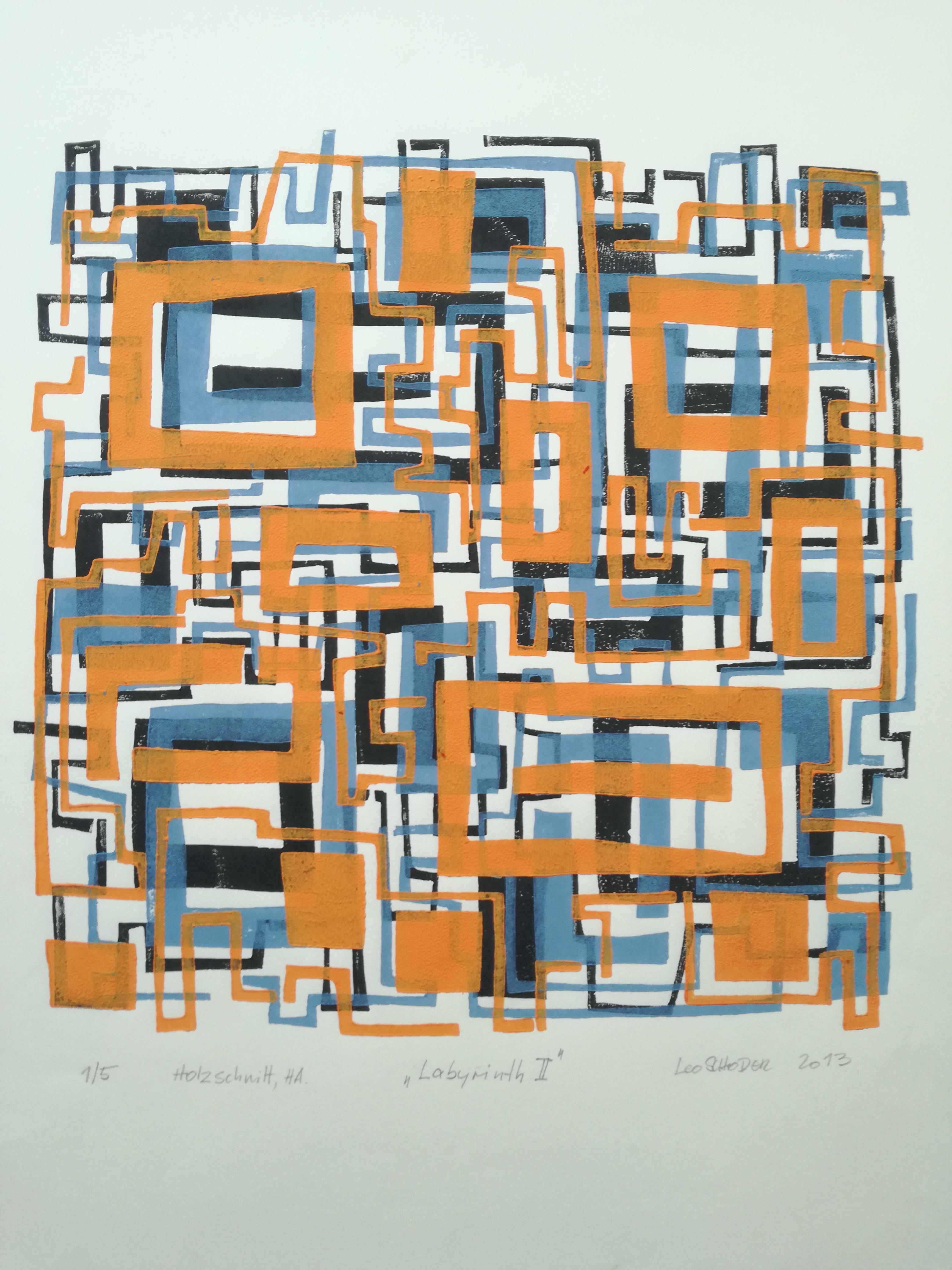Leo Schoder Labyrinth II Holzschnitt