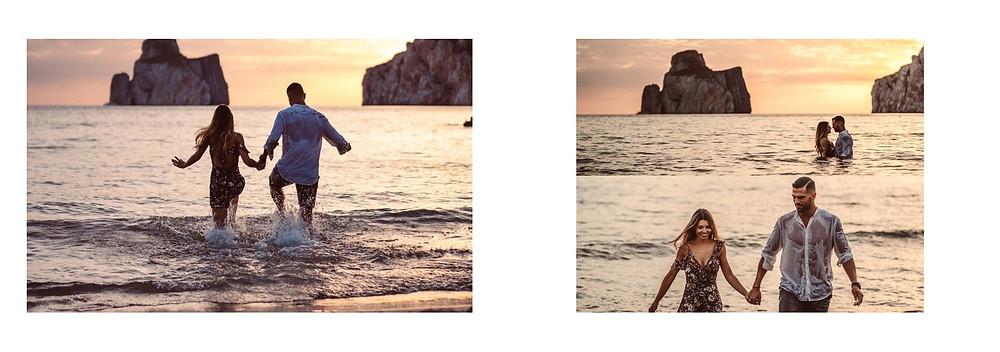 fidanzati, matrimonio, servizio fotografico a Masua Pan di Zucchero Sardegna, prematrimoniale fotografico Sardegna, momenti romantici in acqua