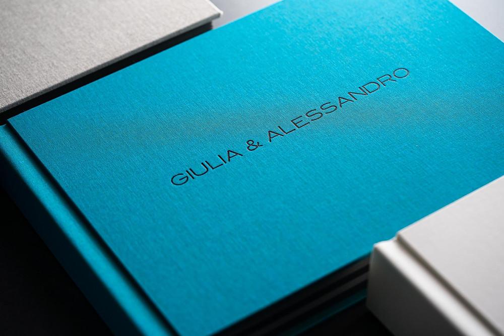 album di matrimonio color acquamarina