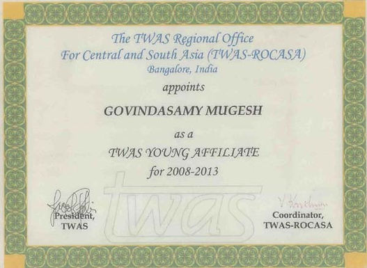 Mugesh has been elected as TWAS Young Affiliate