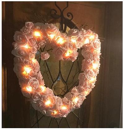 LED-Lit Heart-Shaped Rose Wreath