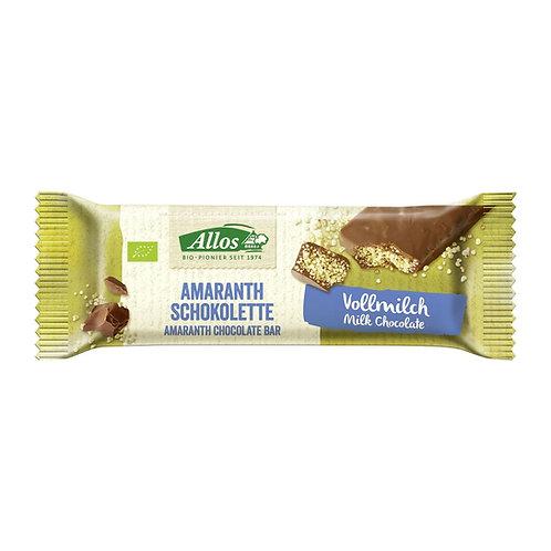 Allos Bio: barretta al cioccolato al latte e amaranto