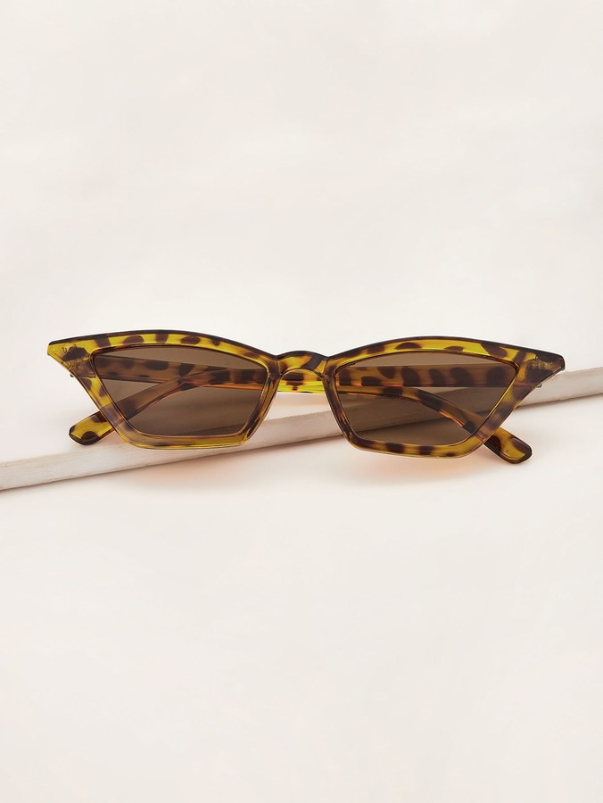 Romwe Cat Eye Leopard Acrylic Frame Sunglasses