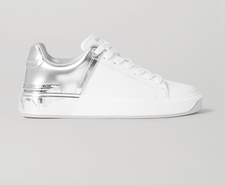 BALMAINB-Court matte and metallic leather sneakers