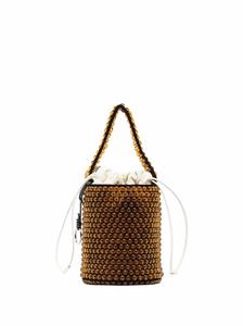 beaded leather bucket bag