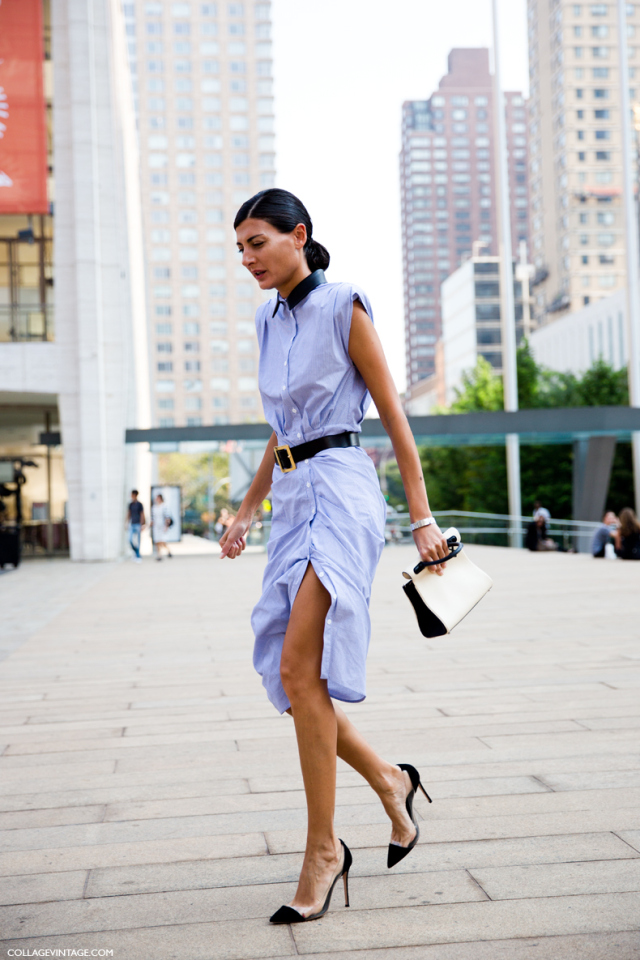 blue midi shirt dresses nyfw new york fashion week spring summer 2014 street sty