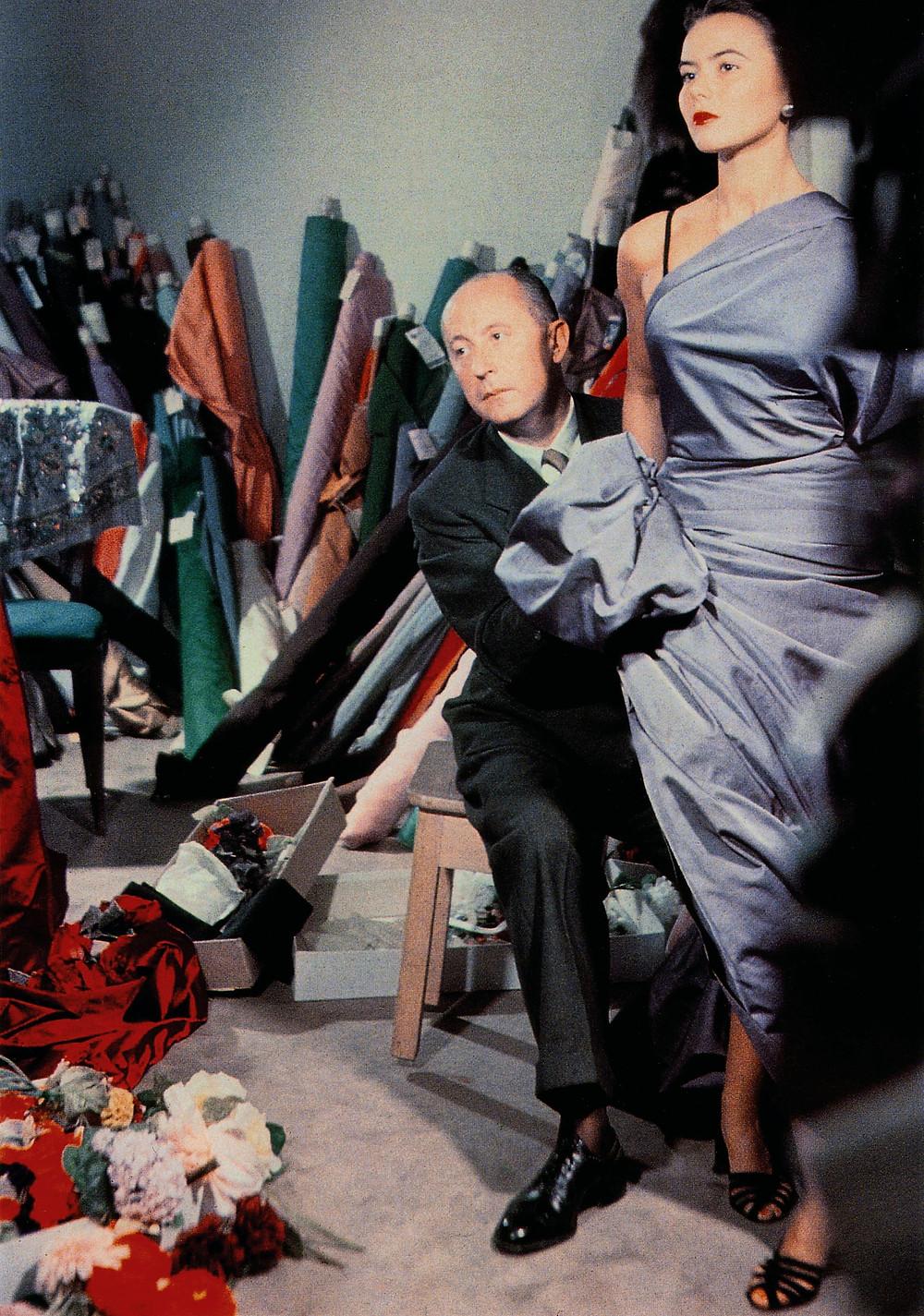 Christian Dior drapes fabric over fashion model Sylvie circa 1948. Photograph: Bellini/Christian Dior