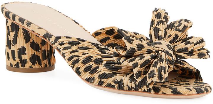 Loeffler Randall Emilia Pleated Leopard-Print Knot Slide Sandals