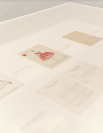 Original sketches, correspondence, and other ephemera from the exhibition Photo: Nick Glover