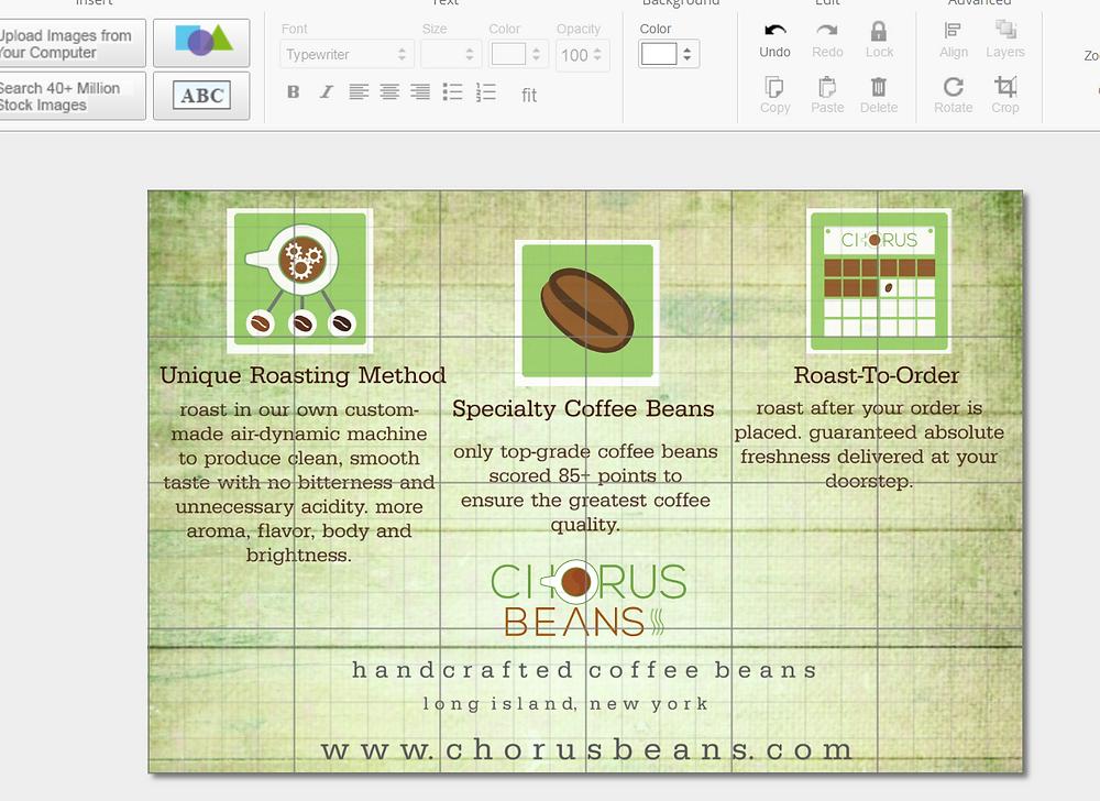 Chorus Beans Postcard in progress