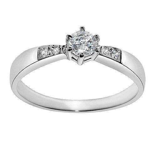 14k White Gold 5/8ct TGW Round-cut Diamonette Engagement Ring