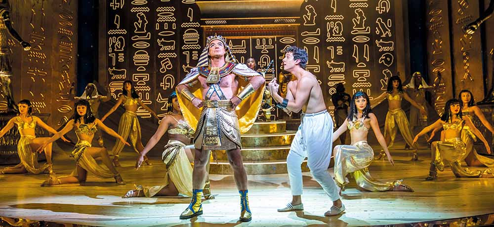 Jason Donovan as the Pharoah and Jac Yarrow as Joseph in Joseph and the Amazing Technicolor Dreamcoat, coming to Manchester next March