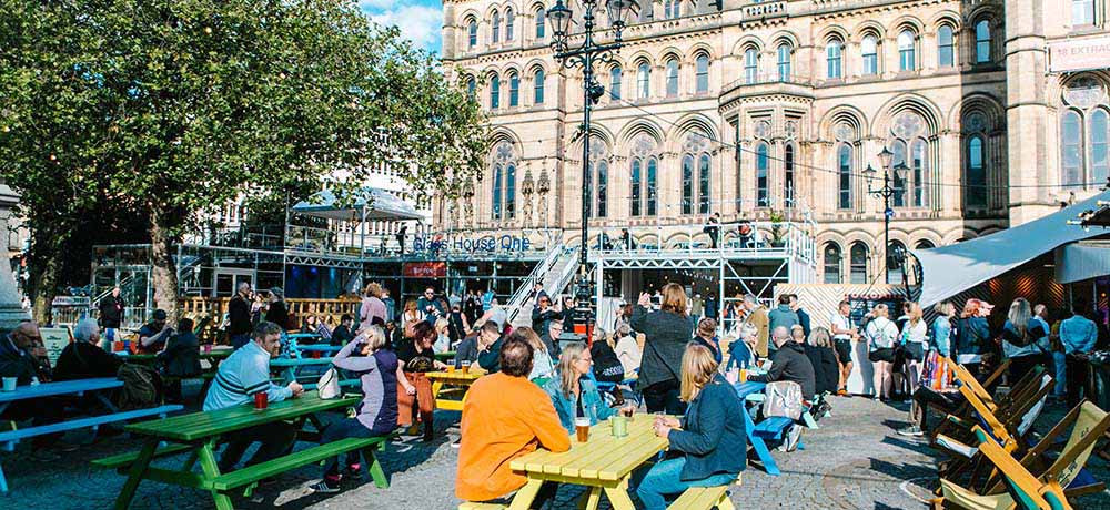 A wide variety of free entertainment in Festival Square. Pic: Louis Reynolds