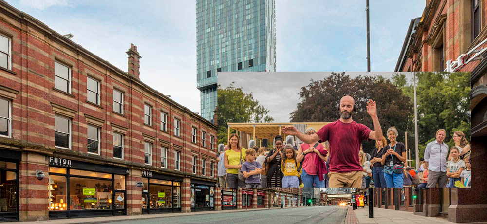 Deansgate by Lee Baxter, with inset, Sea Change dancers by Kira Barlach