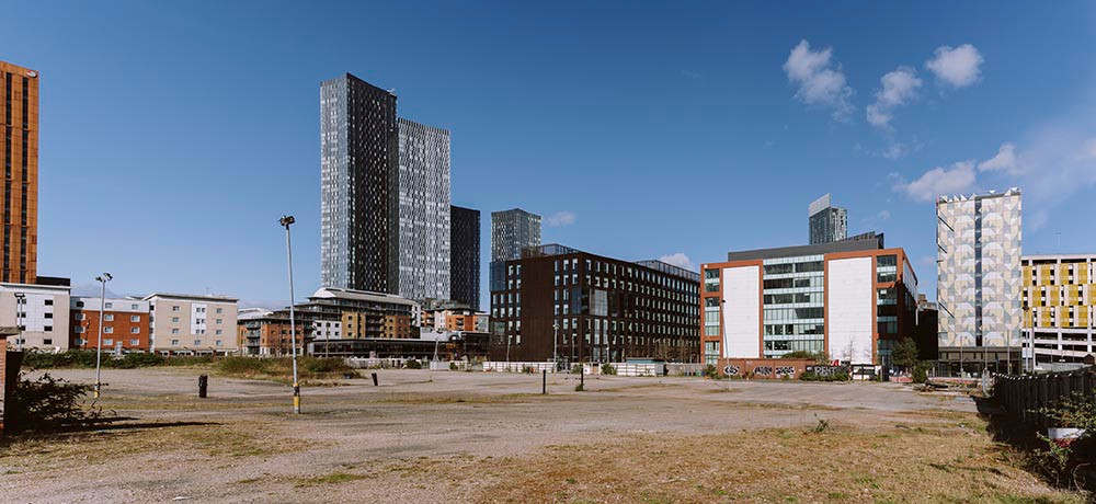 The Homeground site. HOME Manchester is behind the building with the two white walls Pic: Drew Forsyth