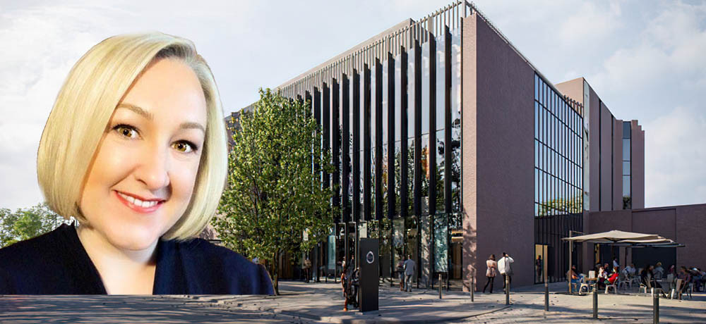 Melanie Lewis (inset), chief of the new Shakespeare North Playhouse (latest artist impression)