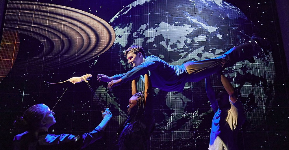 A scene from the 2018 London production of The Curious Incident of the Dog in the Night-Time