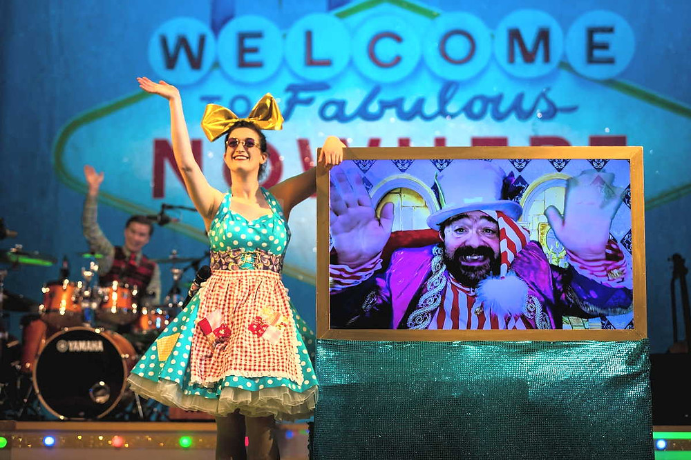 Having a lovely time online: Theatr Clwyd's now-streaming Panto That Nearly Never Was. All pics: Dafydd Owen, Ffotonant