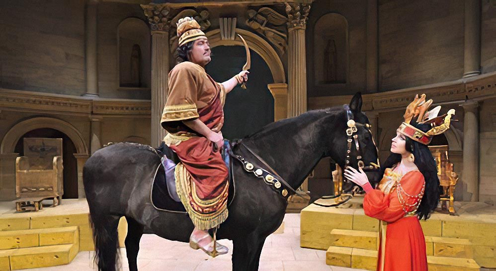 Over his nerves: the black stallion in Ellen Kent's production of Nabucco