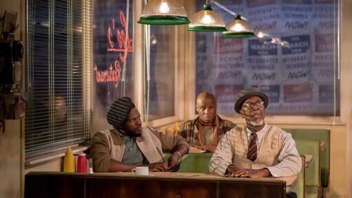 2018 winner Two Trains Running, directed by Nancy Media.  From left,  Michael Salami, Derek Ezenagu and Leon Herbert.  Pic: Manuel Harlan