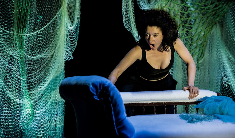 Isabelle Peters as Dido and Anna in Dido's Ghost at Buxton International Festival. Credit Genevieve Girling