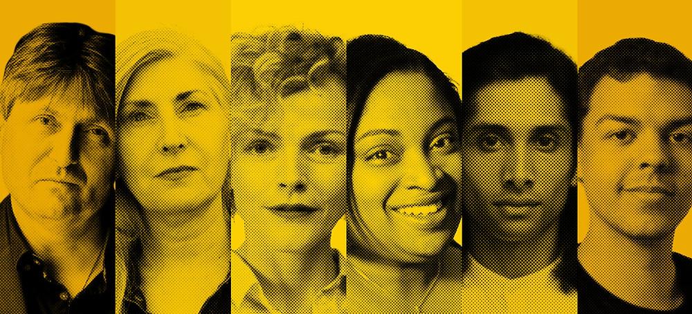 Decades: (l-r) writers Simon Armitage, Alice Nutter, Maxine Peake, Leanna Benjamin, Kamal Kaan and Stan Owens