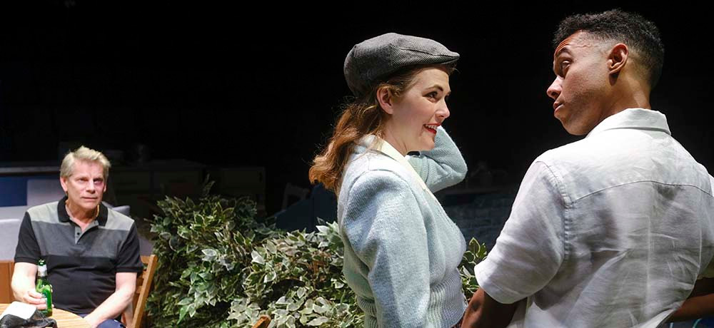 Bill Champion (left), Naomi Petersen and Linford Johnson in Ayckbourn's The Girl Next Door. Pic: Tony Bartholemew