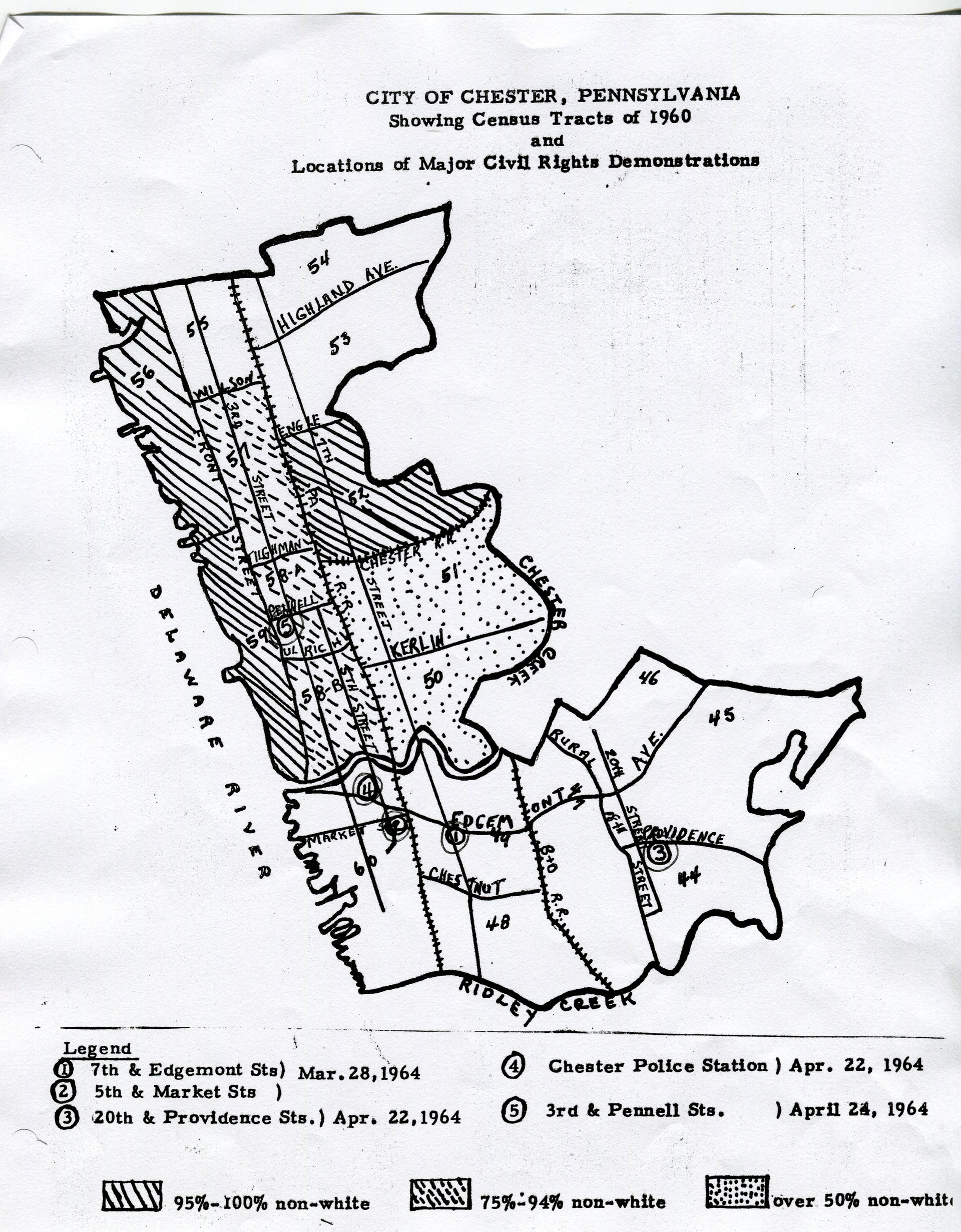 City of Chester Civil Rights Demonstrations Map 1964