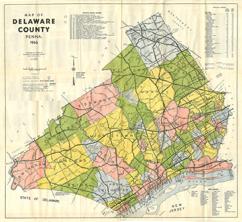 1947 Map of Delaware County