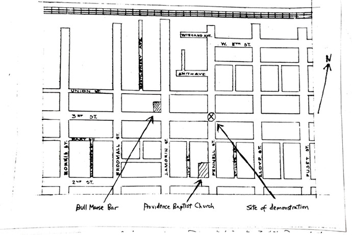 3rd & Pennell Area Map on 1964 Demonstrations