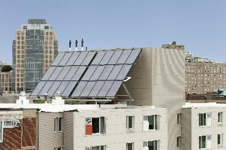 Solar panels on the renovated Castle Square Apartments