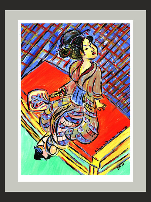 Geisha with mirror fine art print