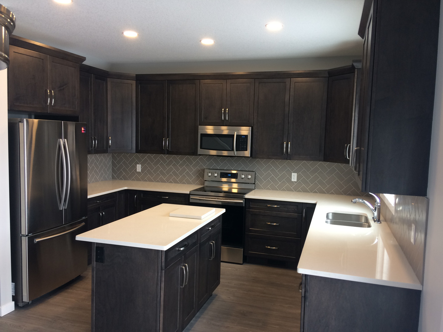 Maple cabinets with island