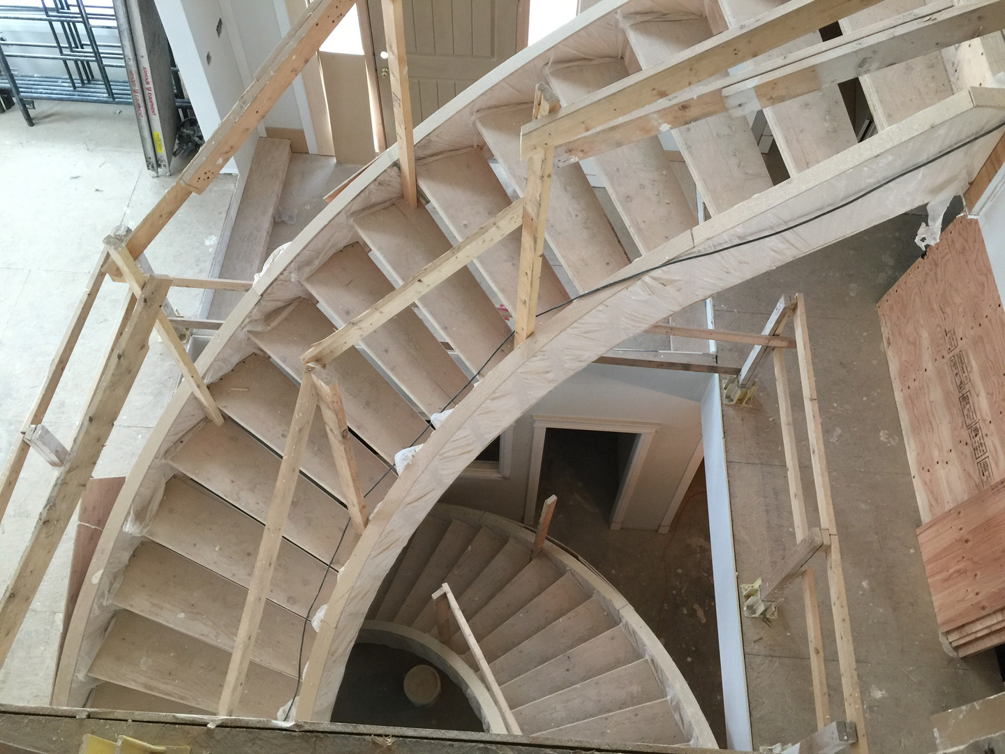 Curved stairs under construction