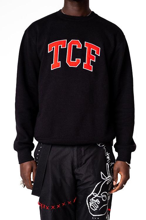 Black/Red Collegiate Crewneck