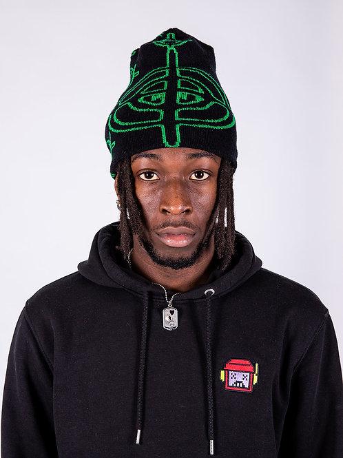 Head Top Beanie- Black/Green