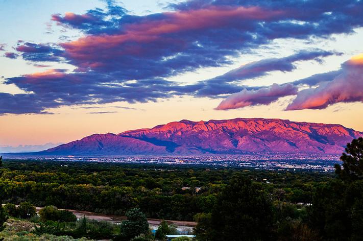 The Sandia Mountains at sunset